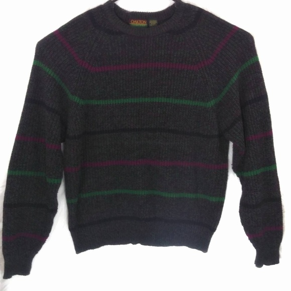 a64854bcd82 Vintage 80s Oakton Striped Pullover Sweater
